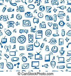 seamless, padrão, com, aquilo, dispositivos, para, seu, desenho