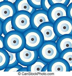 seamless, padrão, com, azul, olho mal, vetorial