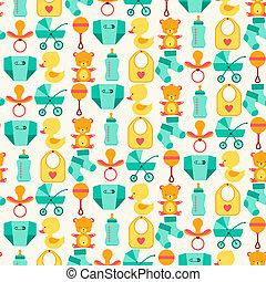 seamless, padrão, com, bebê recém-nascido, icons.