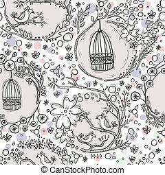 seamless, padrão, com, birdcages