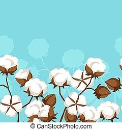 seamless, padrão, com, bolls algodão, e, ramos
