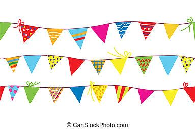 seamless, padrão, com, bunting, bandeiras, para, crianças