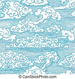 seamless, padrão, com, clouds., vetorial, eps, 10