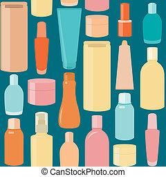 seamless, padrão, com, cosmético, garrafas