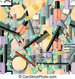 seamless, padrão, com, cosmético, produtos