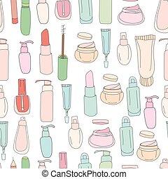 seamless, padrão, com, cosméticos, cremes, lotions.