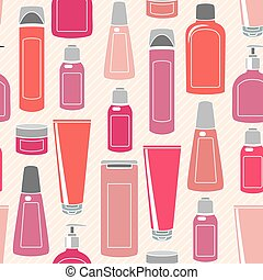 seamless, padrão, com, cosméticos, garrafas