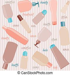 seamless, padrão, com, cosméticos, garrafas, e, texto
