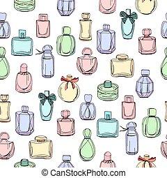 seamless, padrão, com, diferente, garrafas, de, mulher,...