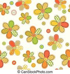 seamless, padrão, com, flores, feito, de, cosendo, remendos, e, botões