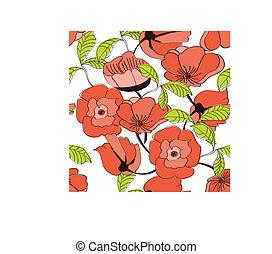 seamless, padrão, com, flores vermelhas