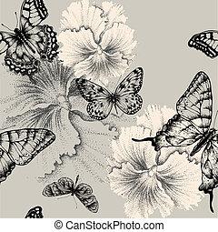 seamless, padrão, com, florescer, amor-perfeitos, e, butterflies., vetorial, illustration.