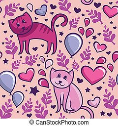 seamless, padrão, com, gatos, apaixonadas