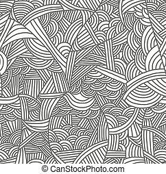 seamless, padrão, com, hand-drawn, waves.