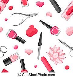 seamless, padrão, com, manicure, tools.