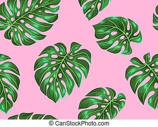 seamless, padrão, com, monstera, leaves., decorativo,...