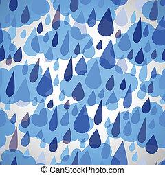 seamless, padrão, com, nuvens, e, chuva