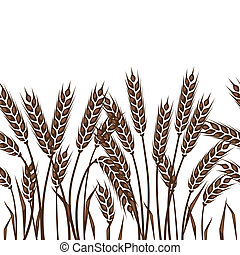 seamless, padrão, com, orelhas, de, wheat.
