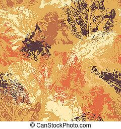 seamless, padrão, com, outono, folheia