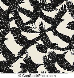 seamless, padrão, com, pretas, voando, ravens., mão,...