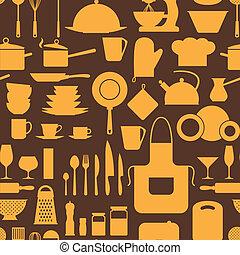 seamless, padrão, com, restaurante, e, cozinha, utensils.