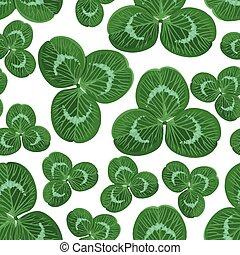 seamless, padrão, com, trevo, folhas