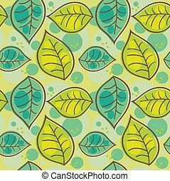seamless, padrão, com, verão, folheia