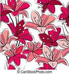 seamless, padrão, com, vermelho, lírios