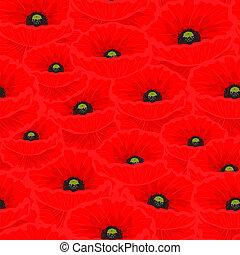 seamless, padrão, com, vermelho, papoulas