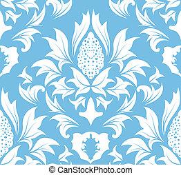seamless, padrão, damasco