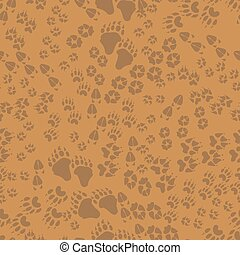 seamless, padrão, de, animal, rastros
