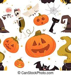 seamless, padrão, de, caricatura, dia das bruxas, objetos
