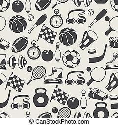 seamless, padrão, de, desporto, icons.