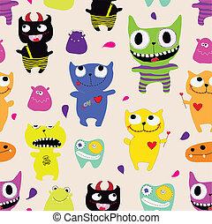 seamless, padrão, de, engraçado, monstros, -, vetorial, ilustração