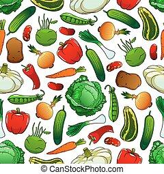 seamless, padrão, de, legumes frescos