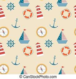 seamless, padrão, de, marinho, tema, jogo