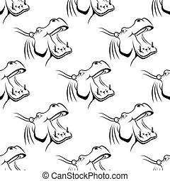 seamless, padrão, de, um, hipopótamo, com, um, boca aberta