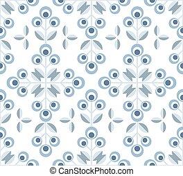 seamless, padrão, escandinavo, meio, floral, século, fundo, ...