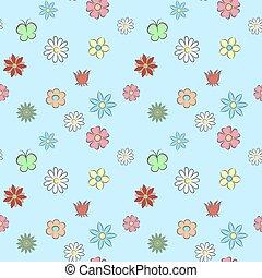 seamless, padrão, flor