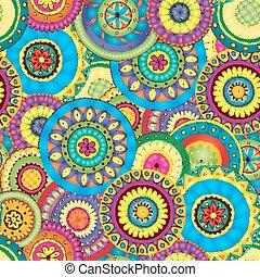seamless, padrão floral, com, doodles, e, pepinos