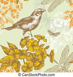 seamless, padrão floral, com, um, pássaro