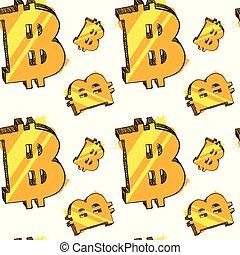 seamless, padrão, glowing, bitcoins, branco, fundo, modernos, teia, dinheiro, conceito