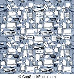 seamless, padrão, mão, desenhado, esboço, ícones, para, negócio, e, escritório., vetorial