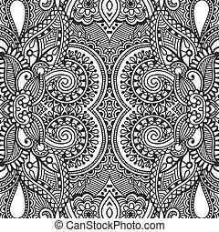 seamless, padrão, mão, experiência preta, branca, desenho