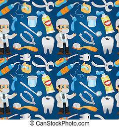 seamless, padrão, odontólogo, ferramenta, caricatura