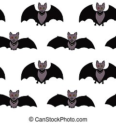 seamless, padrão, para, halloween., morcegos, com, multicolored, olhos, ligado, um, branca, experiência., mão, drawing., vector.