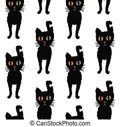 seamless, padrão, para, halloween., pretas, gatos, com, multicolored, olhos, ligado, um, branca, experiência., mão, drawing., vector.