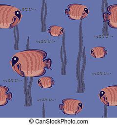 seamless, padrão, peixe vermelho