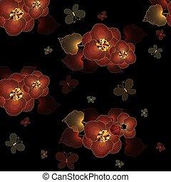 seamless, padrão, pretas, floral