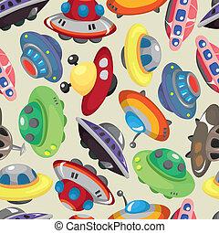 seamless, padrão, ufo, nave espacial, caricatura